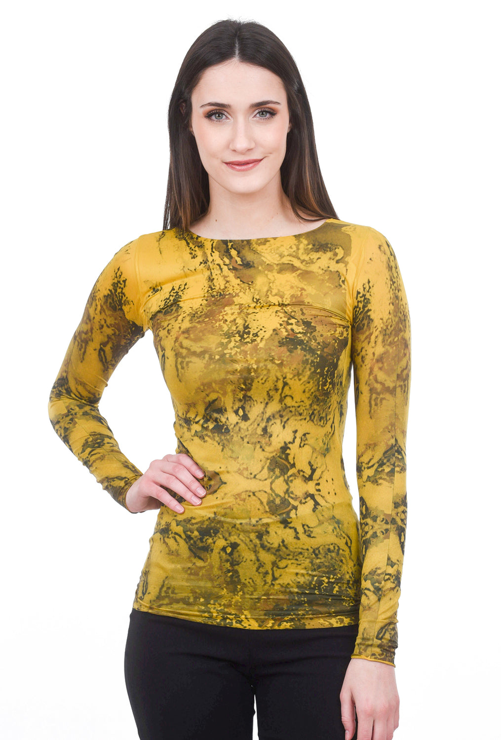 AMB Designs Silver Waves Raw Edge Top, Mustard One Size Mustard