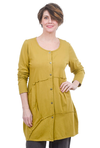 Fenini Dimensional Seam Long Shirt, Green Tea