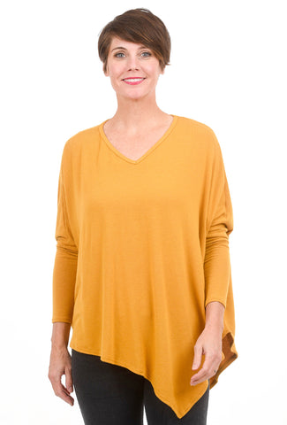 Stark x Asym V-Neck Top, Gold