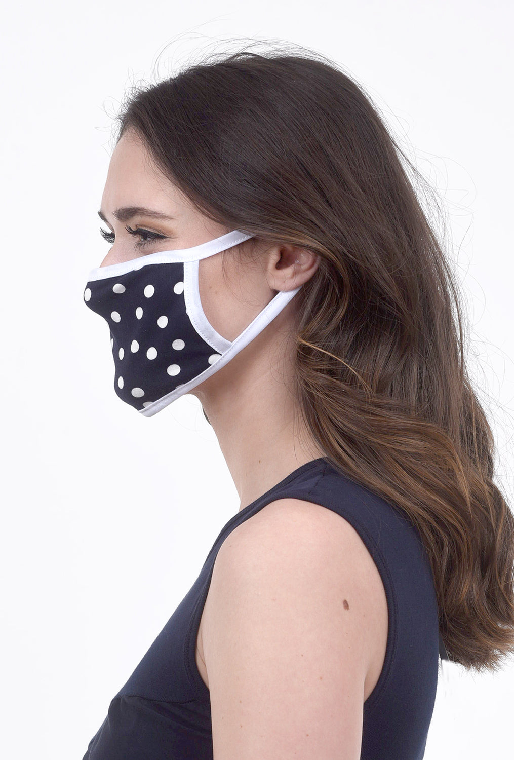 Coin1804 Cotton-Jersey Face Mask, Navy Dot