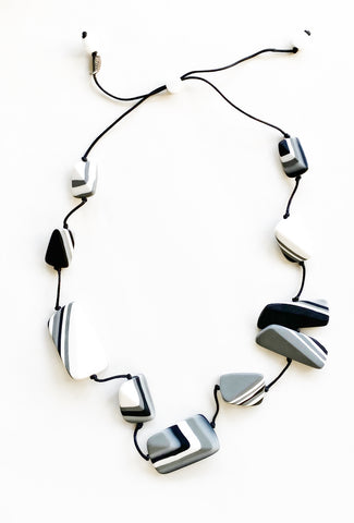 Sylca Designs Evelyn Necklace, Black/Gray