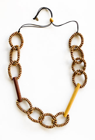 Sylca Designs Melissa Necklace, Mustard/Brown