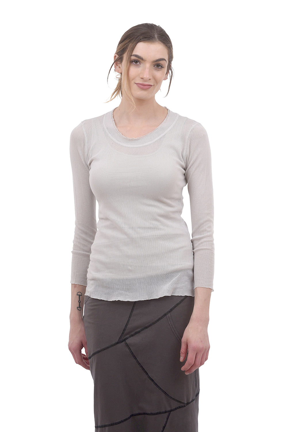 Cynthia Ashby CA Longer Mesh Tee, Autumn White