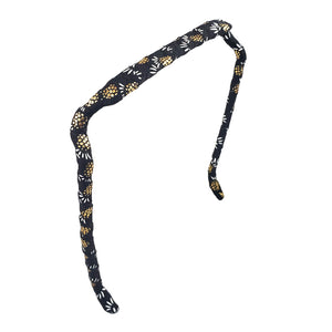 Gold and White Pineapples on Black Headband - Zazzy Bandz