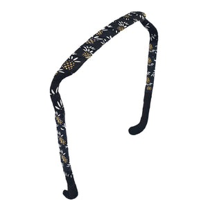Gold and White Pineapples on Black Headband - Zazzy Bandz - hair accessory - curly hair