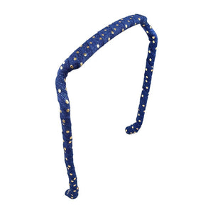 Navy with Gold Dots Headband - Zazzy Bandz - hair accessory - curly hair