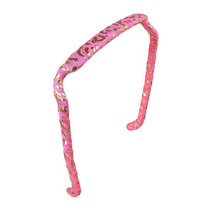 Pink and Gold Cheetah Headband - Zazzy Bandz - hair accessory - curly hair