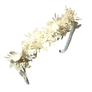 Ribbon Flowers in Cream Headband - Zazzy Bandz