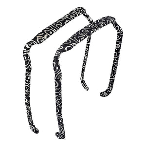 Swirls of Silver on Black Headband - Zazzy Bandz