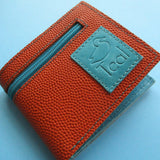 Vintage basketball leather wallet with zip