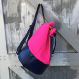 Neoprene and recycled leather duffle bag