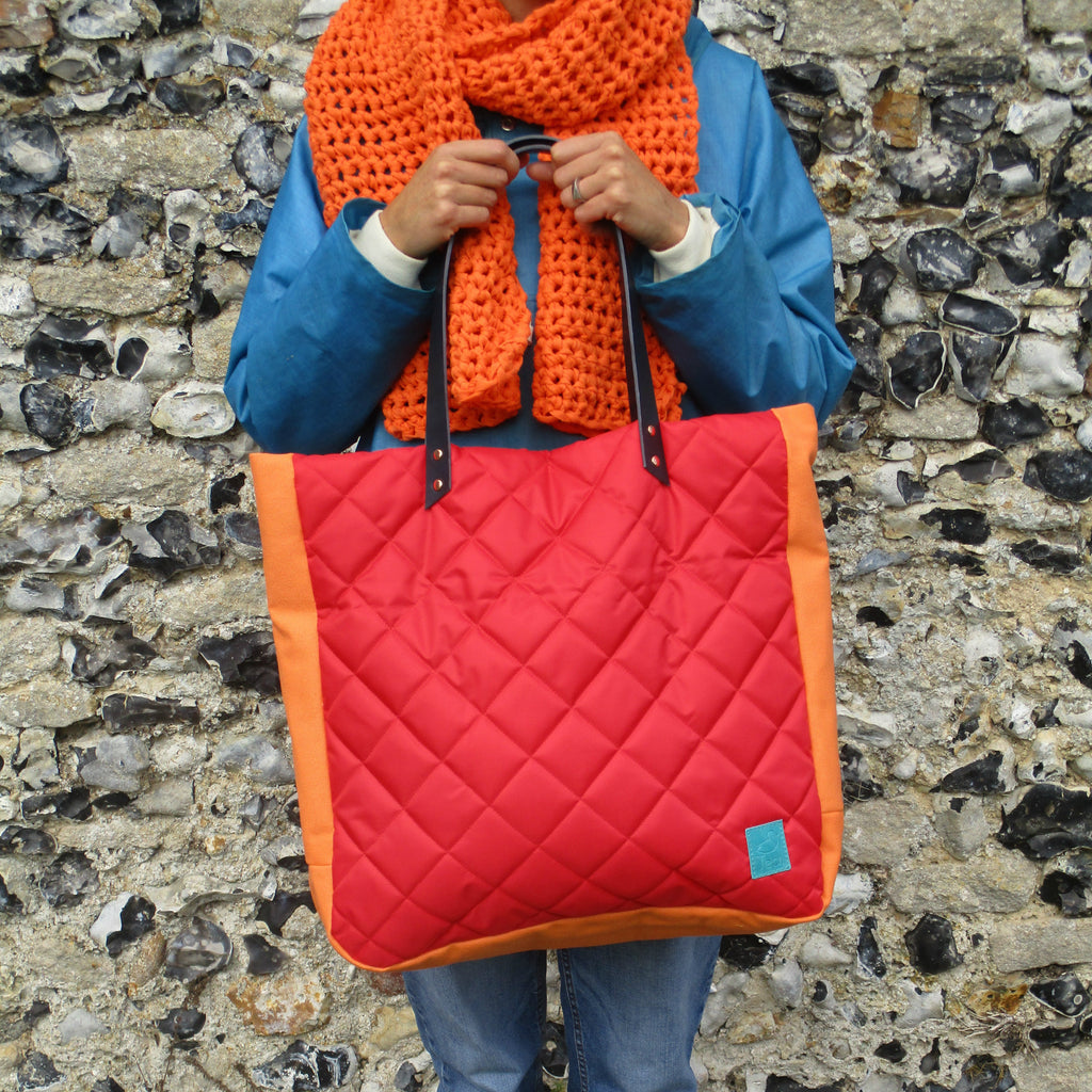 large quilted tote with leather handle