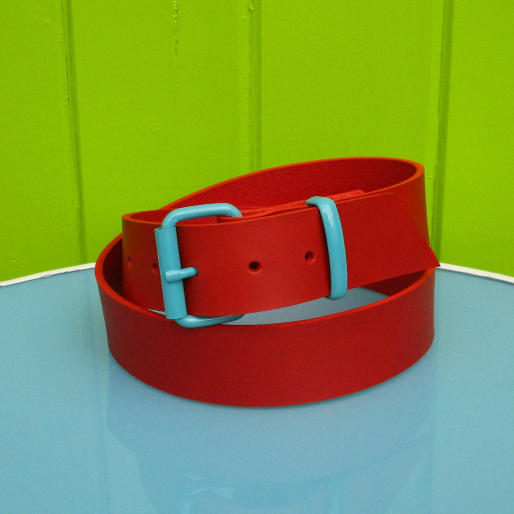 red leather belt with teal powder coated buckle