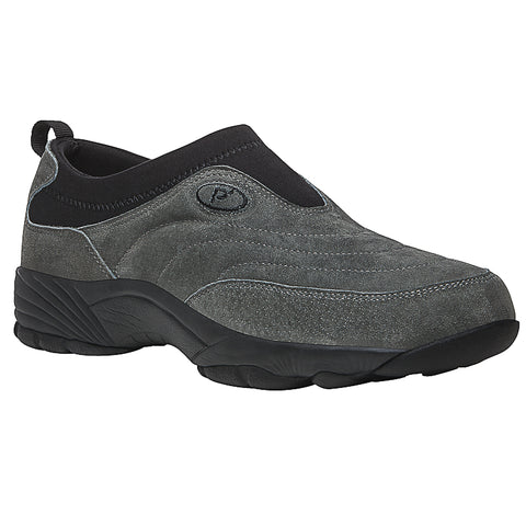 Propet's Men Slip Resistant- Wash & Wear Slip on II M3850- SR Pewter Suede