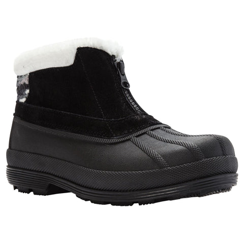 Propet Women Lumi Ankle Zip WBX012S - Insulated Waterproof Winter Booties -Black/White