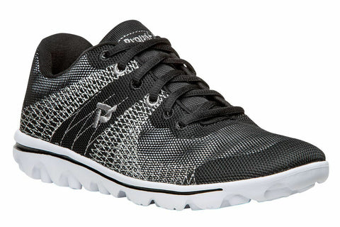 Propet Women Active Walking Shoes - TravelActiv Knit WAT002K- Black/White