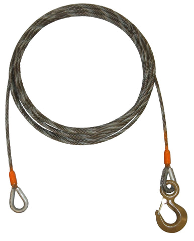 "Steel Core Winch Cable Extensions, 3/8"" Diameter, Length 35-100 Feet"