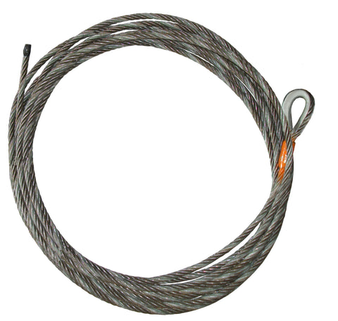 "Steel Core Winch Cable (NO HOOK), 7/16"" Diameter, Length 35-150 Feet"