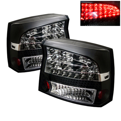 2006-2008 Dodge Charger V8/V6 Spyder LED Tail Lights - Black