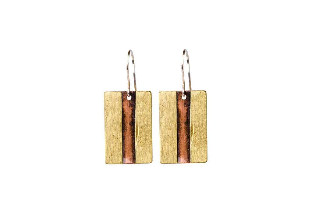 Short Mixed Metal Wrapped Earrings