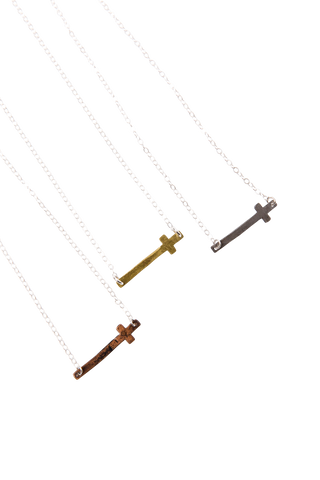 "18"" Horizontal Cross Necklace"