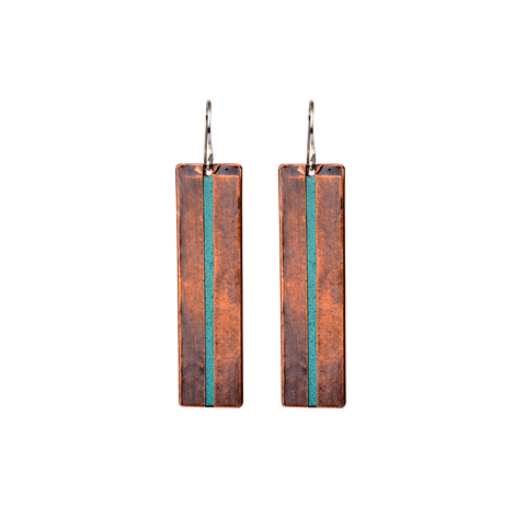Long Mixed Metal Wrapped Earrings