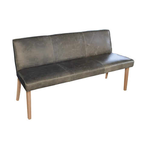Indigo Yard 3 Seater Leather Dining Bench - Oak Legs