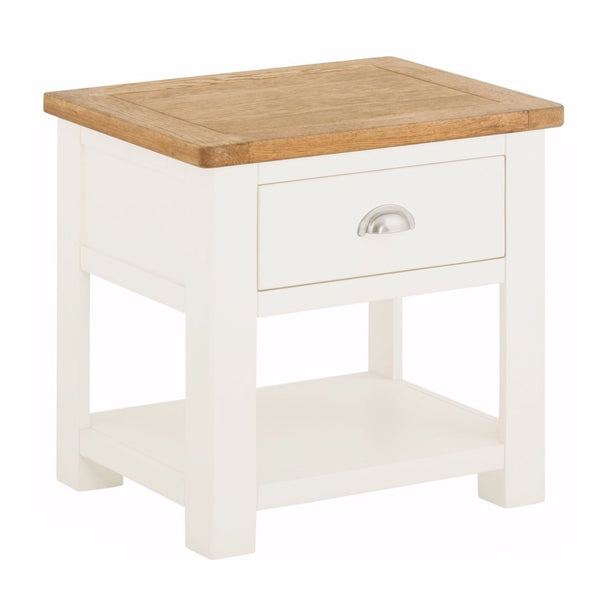 Todenham Oak & White Painted Lamp Table With Drawer