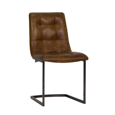 Finsbury Dining Chair -  Brown Vintage Leather