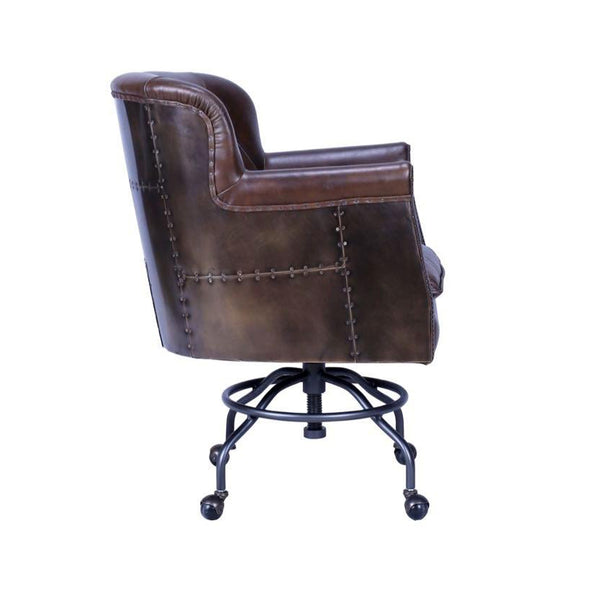 Earhart Leather Desk Chair - Brass