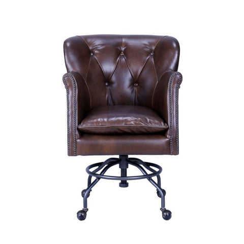 Earhart Gladiator Leather Desk Chair - Brass