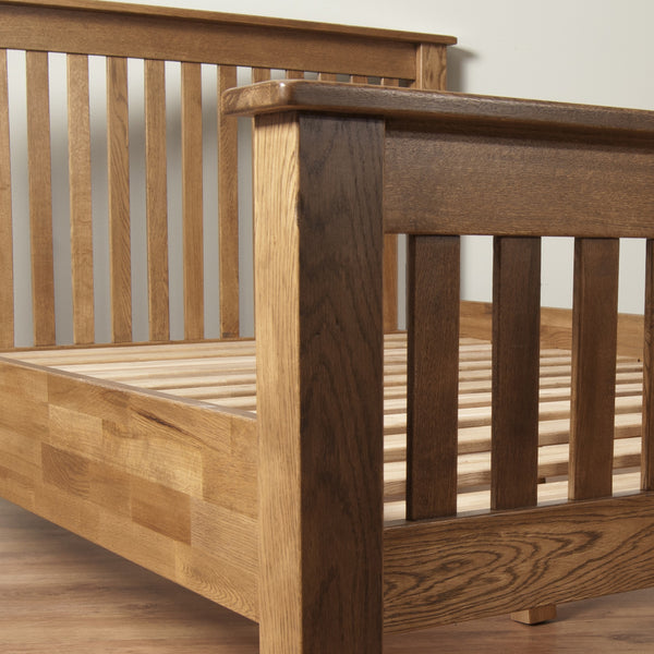 Auvergne Solid Oak Bed - 4ft6 (135cm) Double High Foot End - Better Furniture Norwich & Great Yarmouth
