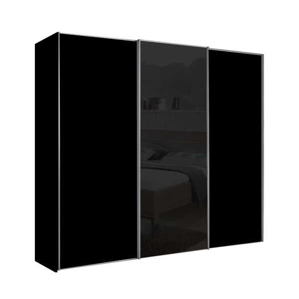 Chicago 225cm Wardrobe with Sliding Doors, 1 Black Glass Door
