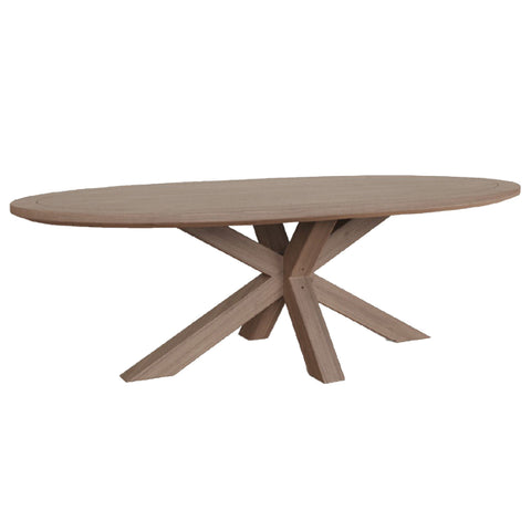 Carnaby Grey Dining Table - Double Cross Pedestal Base