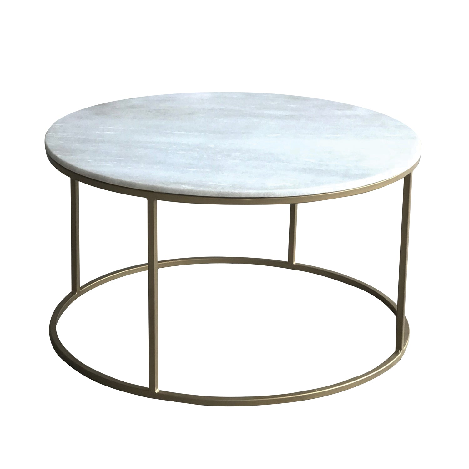 Bronson Round Marble Brass Coffee Table