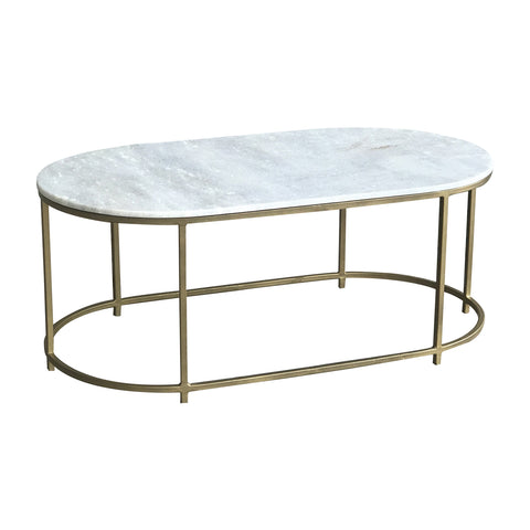 Bronson Oval Marble & Brass Coffee Table