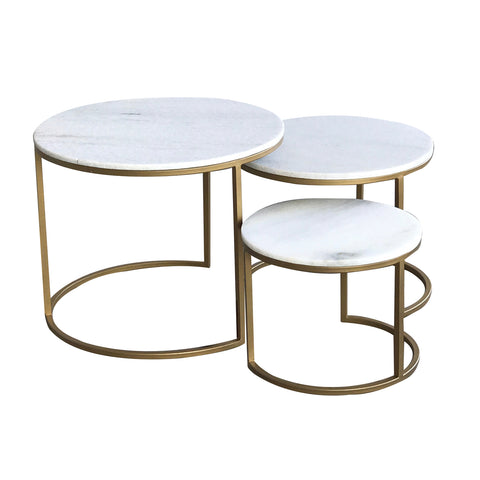 Bronson Round Marble & Brass Cluster Tables - Set of 3