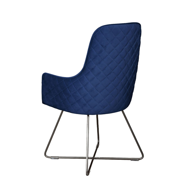 Flint Dining Chair - Plush Marine with Pewter Legs