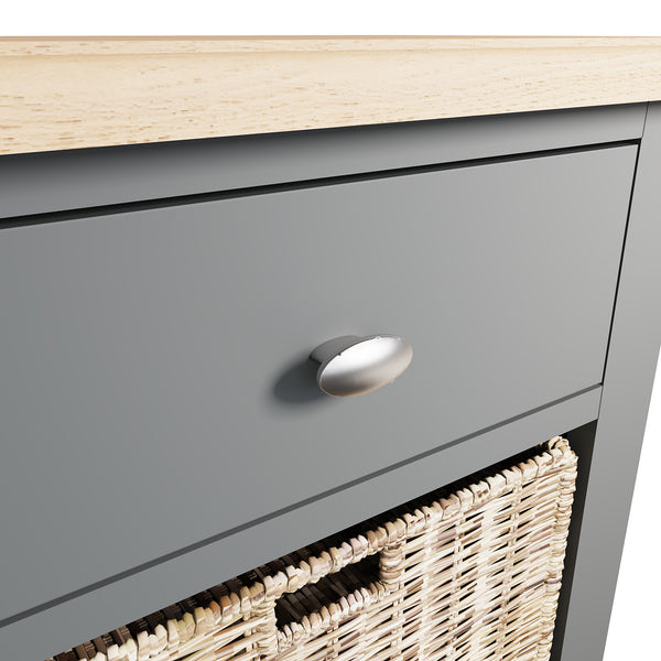 Faro Grey Side Table - 1 Drawer with Basket
