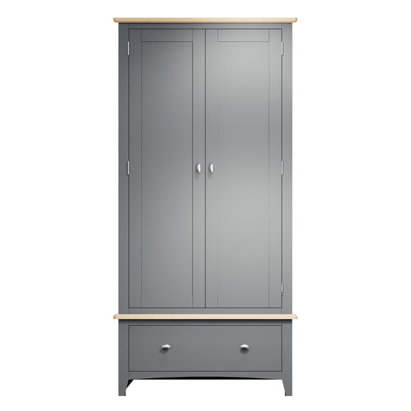 Faro Grey Painted Wardrobe - 2 Door with Drawer