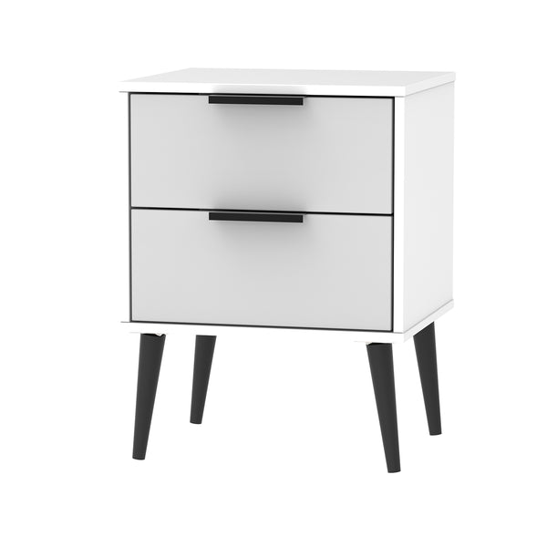 Grey & White Bedside Cabinet with Black Handles