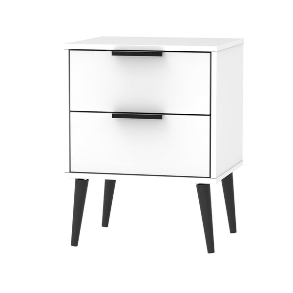 White 2 Drawer Bedside Cabinet with Black Wooden Legs and Handles