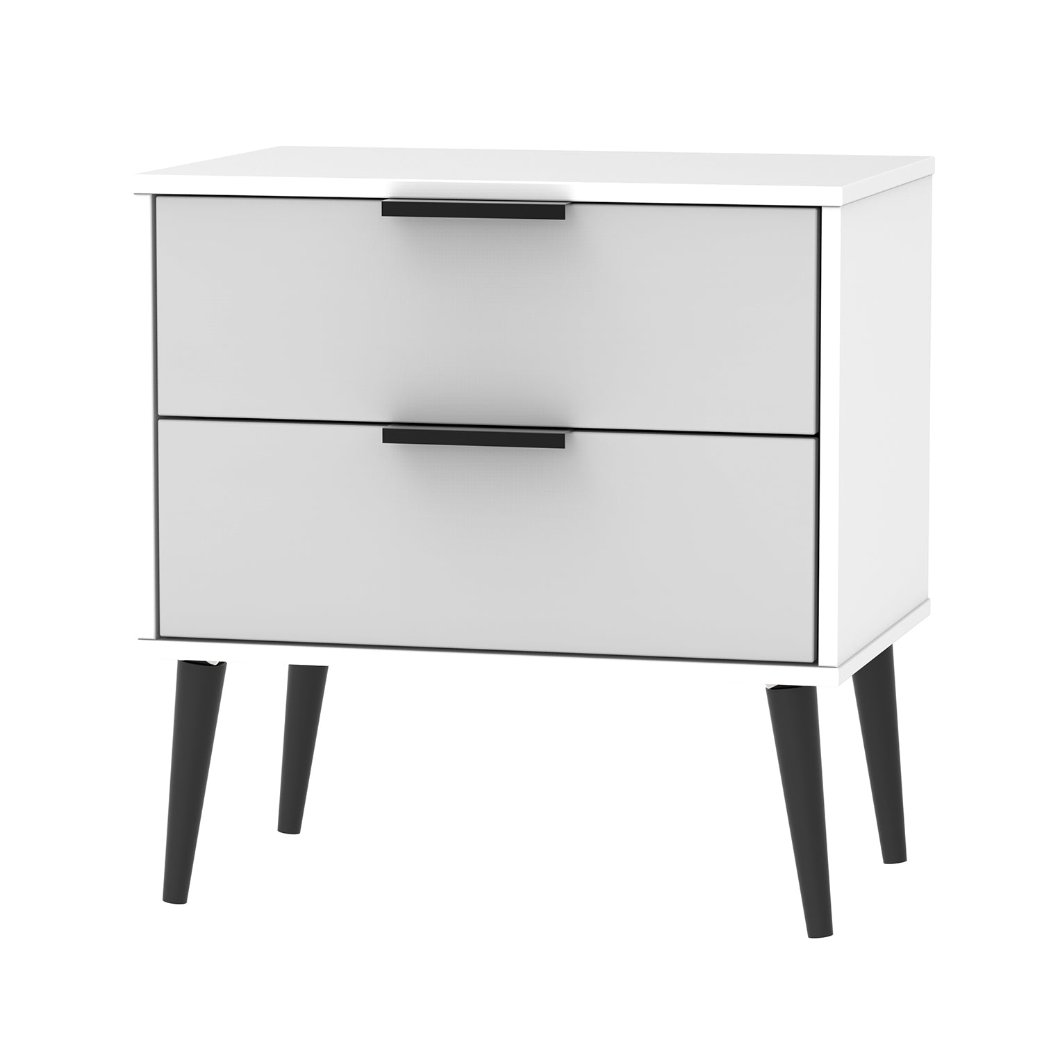 Grey Matt with White Base 2 Drawer Midi Chest with Wooden Legs
