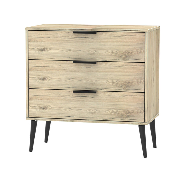 Oak 3 Drawer Chest with Wooden Legs