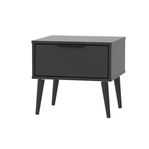 Black Bedside With Black Wooden Legs