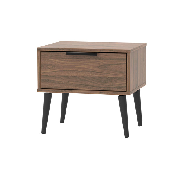 Walnut Bedside Cabinet with 1 Drawer, Black Handle and Wooden Legs
