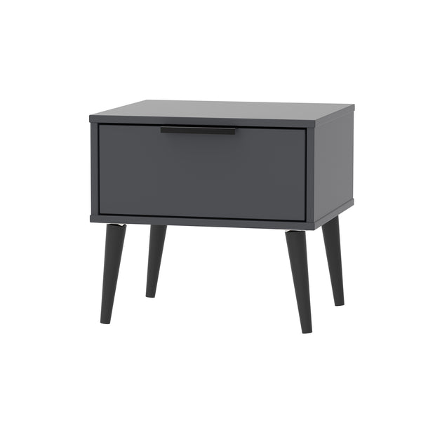 Graphite Bedside 1 Drawer With Black Wooden Legs