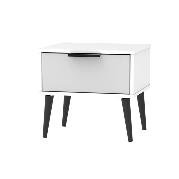 Grey Matt Bedside with Black Handle and Wooden Legs
