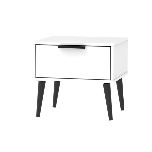 White 1 Drawer Bedside with black legs
