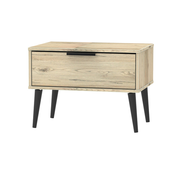 Oak Midi Chest 1 drawer with contrast black wooden legs